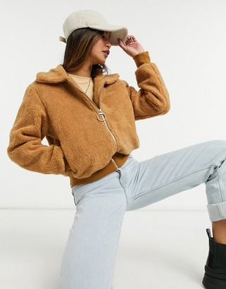 Sixth June faux fur bomber jacket in camel