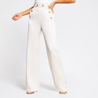 River Island Womens Cream high button waist wide leg trousers