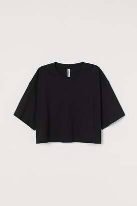 H&M Cropped T-shirt - Black