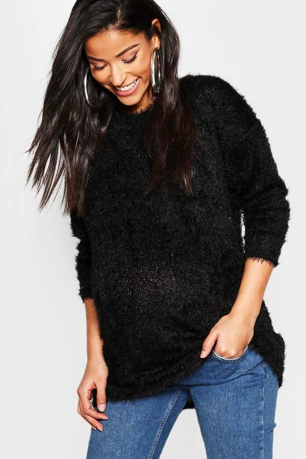 Maternity Eyelash Crew Neck Sweater