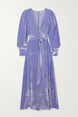 SLEEPING WITH JACQUES The Sylvia Crushed-velvet Wrap Maxi Dress - Lilac