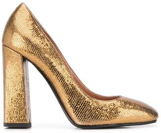 Pollini metallic high heel pumps