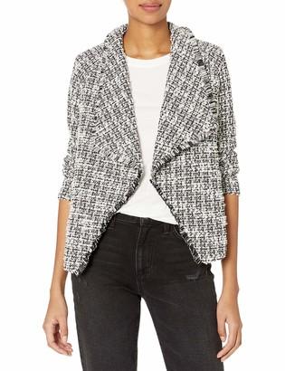 BB Dakota Women's Knit Tweed Drape Front Jacket