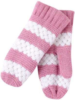DII Tickled Pink Women's Faux Fur Lined Mittens Lightweight Striped