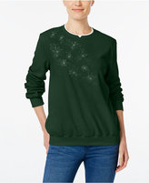 Alfred Dunner Embroidered Fleece Sweater