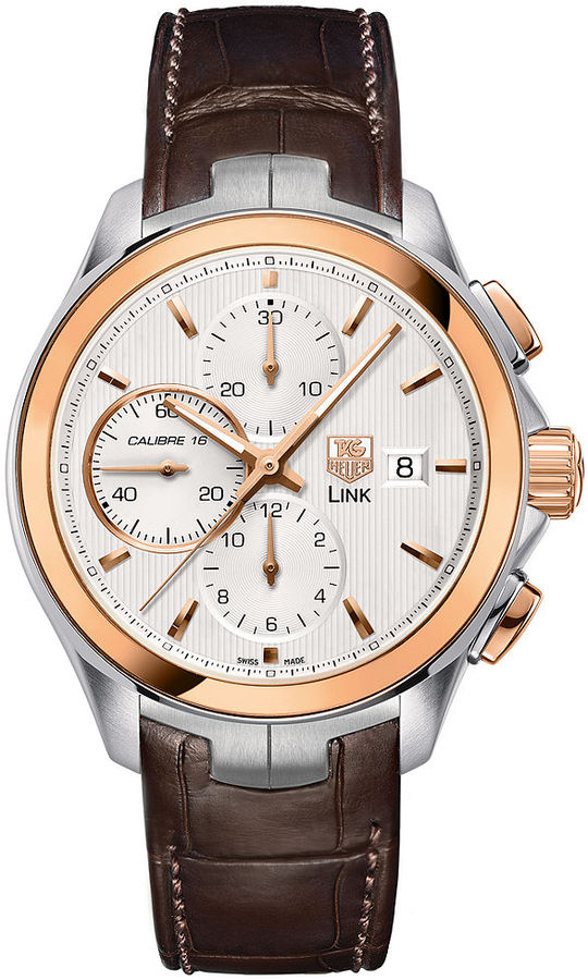 Tag Heuer Watch, Men's Swiss Automatic Chronograph Link Calibre 16 Brown Alligator Leather Strap 43mm CAT2050.FC6322