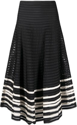 RED Valentino Striped Mid-Length Skirt