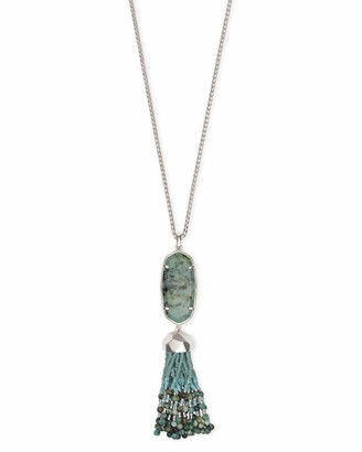 Kendra ScottKendra Scott Eva Silver Long Pendant Necklace in African Turquoise