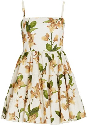 Agua Bendita Lima Jardin Floral Mini Dress