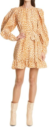 Ulla Johnson Rosaria Cheetah Print Ruffle Long Sleeve Silk Minidress