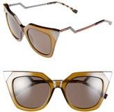 Fendi Women's 52Mm Cat Eye Sunglasses - Havana Palladium W43/ Xt