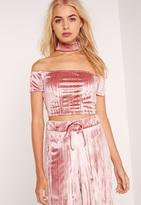 Missguided Velvet Ripple Choker Neck Short Sleeve Crop Top Pink