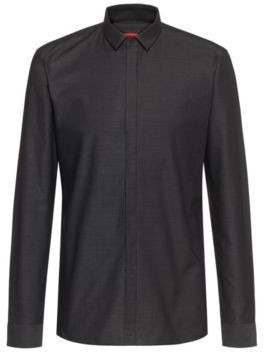 HUGO BOSS Extra Slim Fit Evening Shirt In Structured Canvas - Black