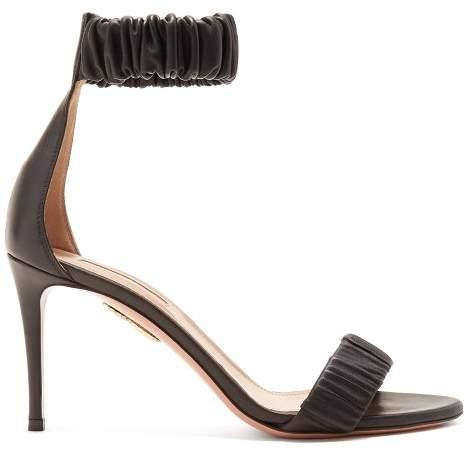Aquazzura Liberty 85 Ruched Leather Sandals - Womens - Black