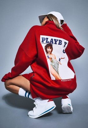 Missguided Playboy X Red Extreme Oversized Varsity 3/4 Zip Dress