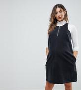 Asos Denim Shift Dress In Washed Black With Circular Ring Pull