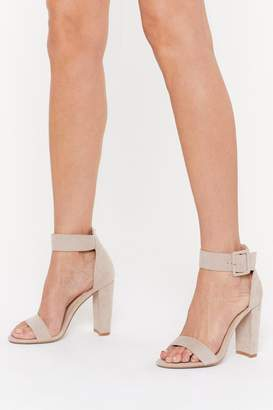 Nasty Gal Womens High There Faux Suede Buckle Heels - Beige - 7