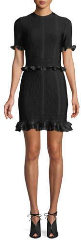 Alexander McQueen Short-Sleeve Crewneck Cage Jacquard Mini Dress with Ruffled Trim