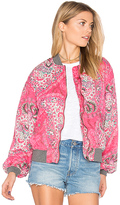 Free People Printed Bomber in Pink. - size L (also in XS)