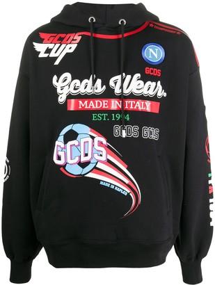 GCDS Logo Print Drawstring Hoodie