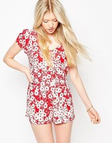 Motel Trudie Button Up Romper in Xerox Daisy Red