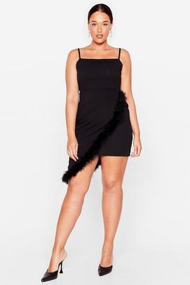 Nasty Gal Womens Don't Ruffle My Feather Plus Mini Dress - Black