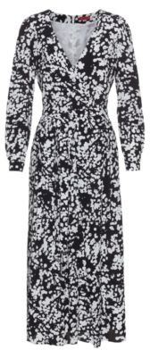 HUGO BOSS Wrap Effect Midi Dress With All Over Cherry Blossom Print - Patterned