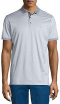 Michael Kors Feeder Stripe Chambray-Trim Polo Shirt, Medium Gray