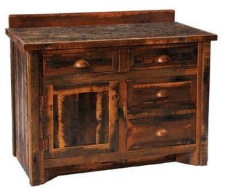 "Union Rustic Derecho 48"" Bathroom Vanity Base Only Orientation: Center, Top: With Laminate Top, Leg Style: Barnwood Legs"