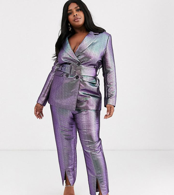 Asos Curve ASOS DESIGN Curve oilslick metallic slim suit pants-Multi