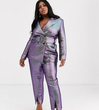 Asos DESIGN Curve oilslick metallic slim suit pants