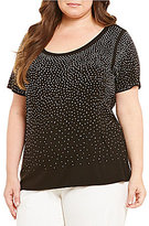 Calvin Klein Plus Short Sleeve Scatter Embellished Tee