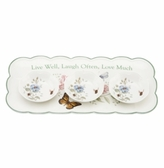 Lenox Dinnerware, Butterfly Meadow Sentiment Hors d'oeuvres Tray with Dip Bowls