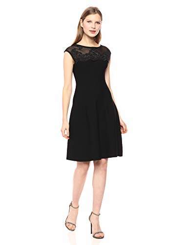 51143736b0f3c Women's Lace and Rib Knit Fit and Flare Dress