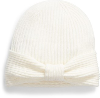 Kate Spade solid bow reversible beanie