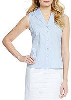 Calvin Klein Wrinkle-Free Pinpoint Oxford Sleeveless Blouse