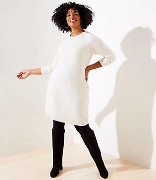 LOFT Plus Marled Shirttail Sweater Dress