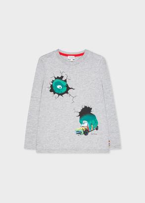 Paul Smith 8-10 Years Light Grey 'Gorilla And Mini' Print Long-Sleeve T-Shirt