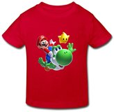 Red Ambom Super Mario Bros Little Boys Girls 100% Cotton T Shirt For Toddlers Size 5-6 Toddler