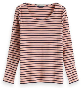 Scotch & Soda Pink With Snap Button Sleeve Breton - xsmall - Pink/Blue