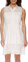 Studio 1 Sleeveless Eyelet Button-Front Fit-and-Flare Dress