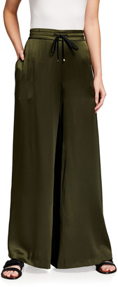 Adam Lippes Silk Charmeuse Wide-Leg Drawstring Pants