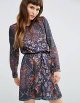 Lavand Sheer Long Sleeve Dark Floral Dress with Belt