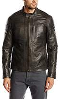 Chevignon Men's Leather Long Sleeve Jacket - Grey -