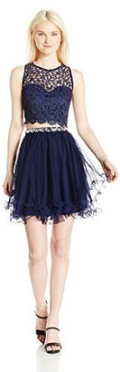 My Michelle Sequin Hearts Junior's Two Piece Short Prom Dress with Lace Details