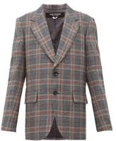 Junya Watanabe Studded Checked Wool-blend Jacket - Womens - Grey Multi