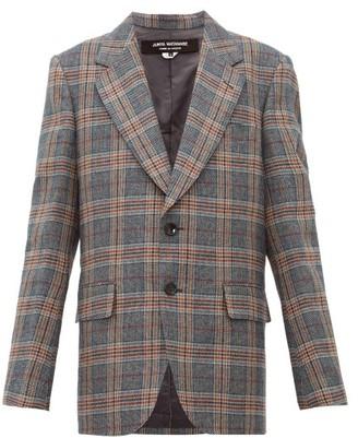 Junya Watanabe Studded Checked Wool-blend Jacket - Grey Multi