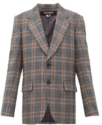 Junya Watanabe Studded Checked Wool-blend Jacket - Womens - Grey Multi
