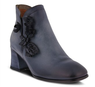 Spring Step L'Artiste Block Heel Leather Booties with SideFlower- Loralie