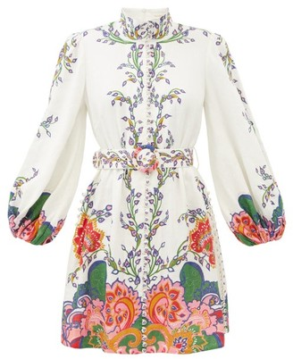 Zimmermann Lovestruck Balloon-sleeve Floral-print Linen Dress - White Print